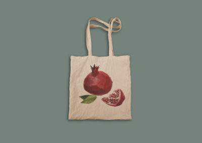pomegranate sipak nar ceker tote bag